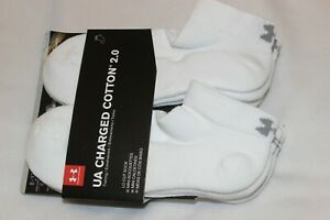 Under Armour Men's Cotton White Charged 2.0 Quarter Socks 6 Pack NWT $19.95