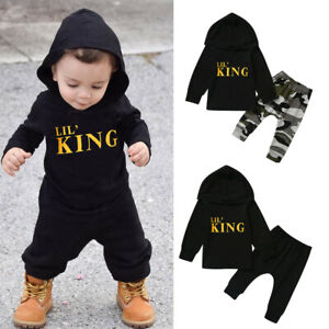 Toddler Kids Baby Boy Letter Hoodie T Shirt TopsCamo Pants Outfits Clothes Set