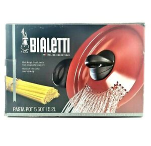 Bialetti 7550 Oval 5 Quart Pasta Pot with Strainer Lid, Nonstick 5.5, Pepper Red