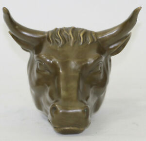 Miguel Lopez France 1990 Real Bronze Abstract Art Sculpture Wall Street Bull NR $169.00
