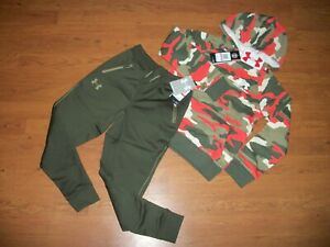 NWT boys Under Armour hoodie jogger set YXS Olive Red Camo $59.99