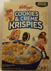 New Kellogg's Cookie & Creme Krispies 12 oz Cereal Box