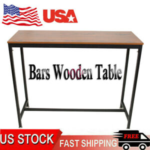 Pub Wooden Table Vintage Furniture Table with Metal Frame For Home Office Bars