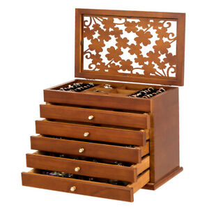 Large Wooden Jewelry Box Cabinet Armoire Case w 5 Drawers amp; AcrylicTop Brown $54.99