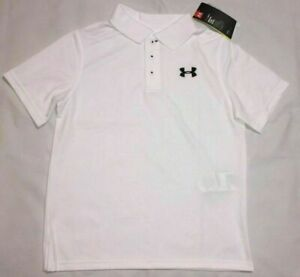 New Under Armour Youth Boy's Heat Gear Loose Fit Polo Shirt Small White $15.99