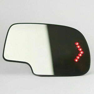 Mirror Glass Heated Turn Signal Passenger RH LED for 03 2007 Chevy GMC Cadillac