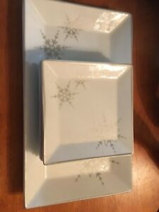 Silver Snowflake Appetizer Set Tray and 4 dishes