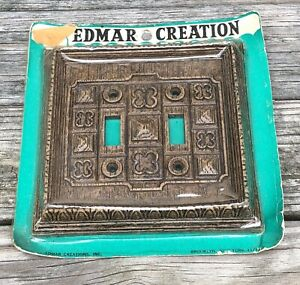 Vintage Edmar Creation Double Light Switch Cover Plate Mid Century Modern Walnut