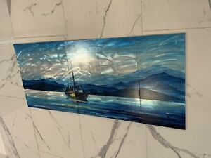 MAGNIFICENT!! Metal Wall Art Ocean!! Boat Abstract Painting Sculpture Decor Blue $89.00