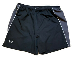 Under Armour Mens Running Shorts Lined Fitted Heat Gear Black Activewear XL $19.99