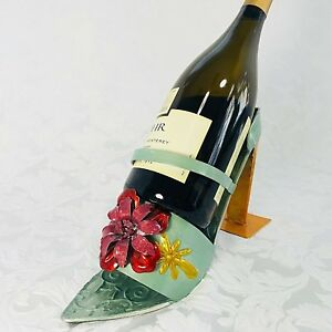 Wine Holder High Heeled Metal Floral Shoe Teal Green Burgundy Gold 3586