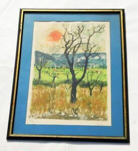 VTG ORIGINAL NATHALIE CHABRIER LTD EDITION ORCHARD IN WINTER COLOR LITHOGRAPH $169.95