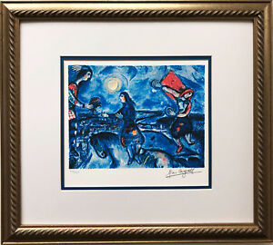 Marc Chagall quot;Lovers Over Parisquot; Newly CUSTOM FRAMED Art Rare Limited Edition $149.99