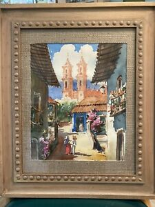 Vintage Midcentury Original Taxco Mexico Watercolor Painting Cityscape Signed $19.99