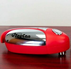 Automatic Can Opener Bottle Cap Deluxe Red One Touch Hands-Free Battery Op ASOTV