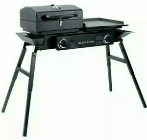 Portable Grills Box Tailgater Gas Flat Top Griddle Combo Cast Iron Adjustable