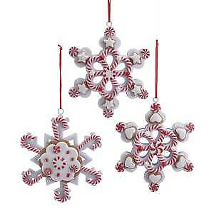 Set of 3 Peppermint Gingerbread Snowflake Ornaments w