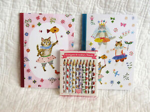 Two Small KItty Cat Notebooks and Set of MIni Pencils French Design by Djeco