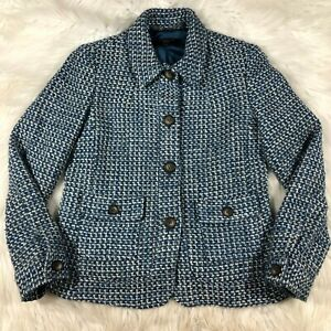 Talbots Petites Womens 4P Blue White Wool Blend Tweed Style Blazer Jacket