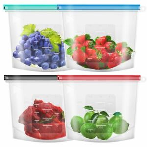 5X Set Silicone Food Storage Bags Zip Leakproof Containers Plastic Free Reusable