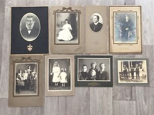 LOT Of 8 Antique Photos Photographs Family Children Mourning