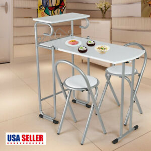 Folding 3 Piece Dining Table Set 2 Chairs White MDF Metal Kitchen Furniture NEW