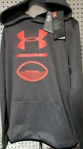 Boys Kids Youth UNDER ARMOUR Long Sleeve Pullover Hoodie NEW Gray Orange XL $17.97