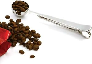 Coffee Scoop with Bag Clip Stainless Steel 1.5 tbsp Built-in Clip