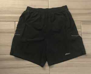 Mens Asics Running Charcoal Gray Lined Running Shorts Size L $14.00