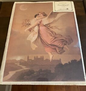 The Guardian Angel by Wilhelm von Kaulbach Reproduction of 1850 Chromolithograph $12.99