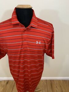 Under Armour Heat Gear Mens Large Red White Striped Short Sleeve Golf Polo... $8.50