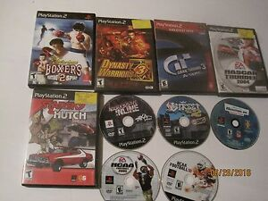Lot of 10 PS2 Playstation Games Gran Turismo Ncaa Football Nascar Thunder jk139