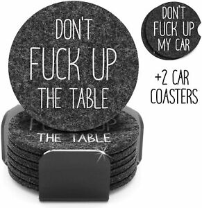Funny Coasters For Drinks Set of 8 | 6 Absorbent Felt Coasters w/Holder + 2 Car