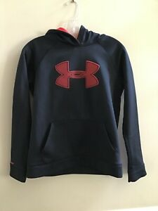 UNDER ARMOUR BOY'S BLACK & RED LOOSE HOODIE SIZE LARGE YOUTH YLG $0.99