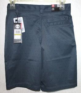 Under Armour Youth Boys Dark Grey Garcons Chicos Print Golf Shorts size 14 $34.99