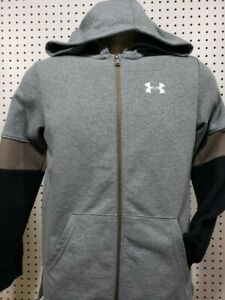 Boys Kids Youth UNDER ARMOUR Long Sleeve Full Zip Hoodie NEW Gray black XL $22.39