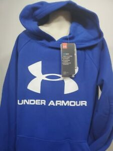 Boys Kids Youth UNDER ARMOUR Pullover Hoodie NEW Large Long Sleeve Blue big logo $20.99