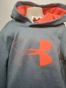 Boys Kids Youth UNDER ARMOUR Pullover Hoodie NEW Large Steel blue Gray Neon $20.99