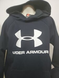 Boys Kid Youth UNDER ARMOUR Pullover Hoodie NEW Large Long Sleeve Black big logo $20.99