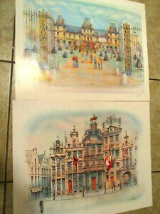 Rafflewski PARIS buildings Cityscape 1980 Lithograph Print Lot $45.00