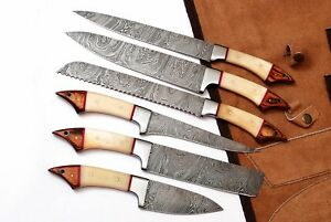 CUSTOM MADE DAMASCUS BLADE UNIQUE KITCHEN/CHEF KNIFE 6 PC'S SET DB 1061-6