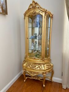 🌞2 Antique VINTAGE Gilded Rococo Italian Curio China CABINET Vitrine display $5499.00