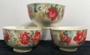 Pioneer Woman Stoneware Floral Ruffled Soup/Cereal Bowls (3)