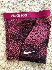 Nike Pro Dri Fit Compression Shorts Size L Youth Pink Black Girl's $9.40