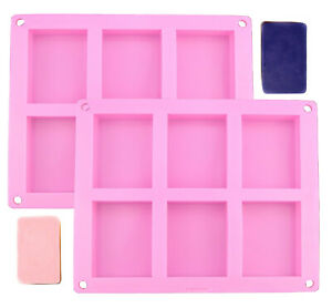 2 Pack Silicone Homemade rice krispy Treat and Soap Bar Mold Silicone Rectangle