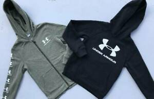 BOY'S SMALL 7 8 UNDER ARMOUR BLACK & GREEN JACKET HOODIE SWEATSHIRT LOT NWT $44.00
