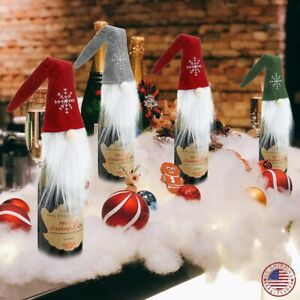 3 6 PCS Christmas Wine Bottle Santa Snowman Holiday Champagne Toppers Sweater