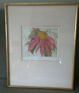 Walter Cleveland Original Color Etching Signed Poinsettia $75.00
