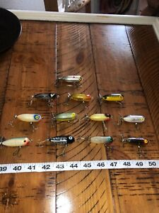 Vintage Heddon Tiny Torpedo Tiny Top Lot Of 12 Old Lures Good Colors Tough Rare