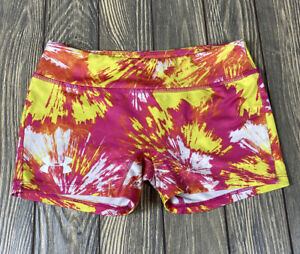 Under Armour Youth Girls Yellow Pink White Fitted Shorts Medium $24.49